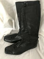Ladies black Leather Square Toe Knee Length Boots By Bruno Premi 5