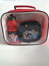 One Direction Red 3 Piece Lunch Set Bag Bottle and Sandwich Box of