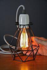 Small Diamond geometric wire lamp Cage pendant cloth cord light chandelier