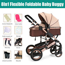 Baby Pram Newborn Car Seat 8in1 Buggy Pushchair Stroller Carrycot Travel System