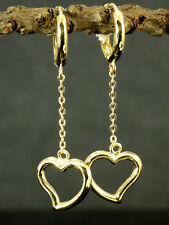 333 Gold kleine Scharnier Creolen 1 Paar  mit Herzen Anhänger