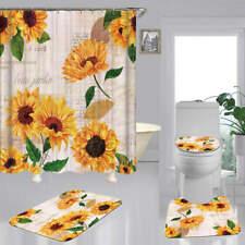 Sunflower Art Print Shower Curtain Bath Mat Toilet Cover Rug Bathroom Decor