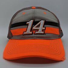 STEWART HAAS Tony Stewart #14 NASCAR Racing Logo Hat Strapback Cap Gray Orange