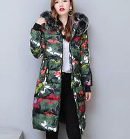 Women's Camouflage Down Cotton Winter warm Parka Hooded Coat down Jacket outwear