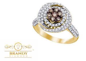 Brandy Diamond Chocolate Brown 10K Yellow Gold Swirl Halo Flower Design Ring 1Ct