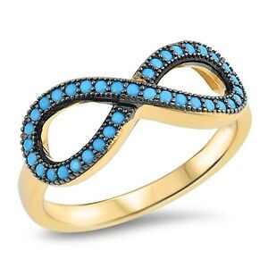 Turquoise Infinity 925 Yellow Gold Sterling Ring