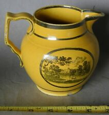 Antique yellow silver luster cream pitcher black transfer sunburst c 1815 canary