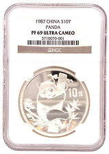 1987 China Silver 10 Yuan Panda NGC PF 69 Ultra Cameo PROOF Very Rare Coin