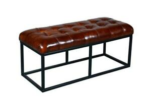 GOAT LEATHER SEAT WITH METAL BASE BENCH