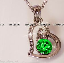 Heart Necklace with Emerald Green Diamond in the Centre Cute Gift Present 4 Girl