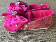 Coastal Projections Shoes Size 5 Hot Pink Girls Sequin Bows Mary Jane Shoes NEW
