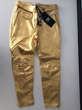 Moschino H&M NEW gold 100%  Leather Trousers Pants Size 38 Uk 10 Bnwts