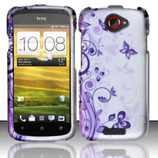 T-Mobile HTC ONE S Rubberized HARD Protector Case Cover Purple Silver Butterfly