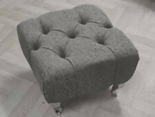 Footstool Small Stool Pouffe Footstool Chenille Choice of Buttons & Colours