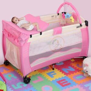 Lettino Culla Box Gioco + Fasciatoio e Giochi Bambini Campeggio Pieghevole Rosa