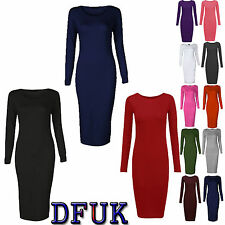 Calf Length Patternless Stretch, Bodycon Dresses for Women