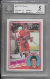 84-85 TOPPS HOCKEY ROOKIE CARD #49 STEVE YZERMAN RC RED WINGS BGS 8 NM-MT
