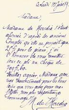 José-Maria de HEREDIA / Lettre autographe signée / Le piano de ses filles