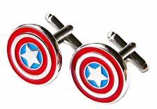 Marvel Comics CAPTAIN AMERICA Logo Silvertone/Enamel CUFFLINKS