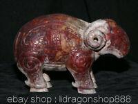 "5.8 ""Natural Hetian Red Jade Néphrite sculpté Zodiac Animal Sheep Chèvre Statue"
