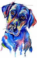 Black Labrador art print painting Retriever Dog Artwork Gifts Birthday Gift