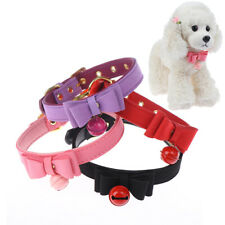 Bowknot Cat Collar PU Leather Bells Necklace Adjustable Small Dog Puppy KittA3C