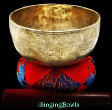 "Antique Tibetan Singing Bowl: Thado 7 1/8"", ca. 18th C., G#3 & D5.VIDEO"
