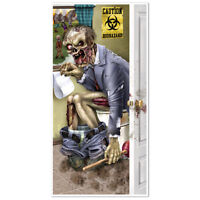 ZOMBIE RESTROOM DOOR COVER HALLOWEEN HORROR PARTY HANGING DECORATIONS POSTER