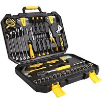 DEKO 128PC Mechanics Hand Tool Kit Set Deluxe Metric Socket Wrench Screwdriver