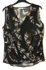 BLACK WHITE PINK FLORAL LADIES CASUAL SHEER TOP BLOUSE V-NECK SIZE 8 NEW LOOK