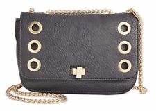 INC Womens Yvonn Black Faux Leather Flap Crossbody Handbag Purse Small BHFO 5615