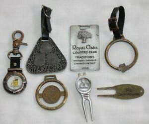 Lot Of 4 Metal Golf Bag Tags, 2 Divot/Ball Mark Tools, 1 Trashmasters Watch-G4