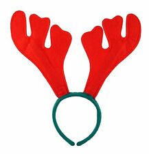 RED REINDEER ANTLERS HEADBAND CHRISTMAS SANTA XMAS FANCY DRESS PARTY ACCESSORY