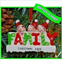 Personalised Christmas / XMAS Tree Decoration Bauble Ornament Gift - 3 Family