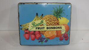 vintage Pascall Claremont Tasmania fruit bonbon hinged lid tin