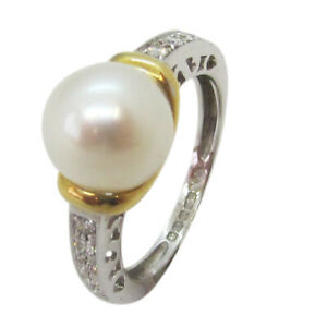 18ct White & Yellow Gold Fancy Pearl and Diamond Shoulder Stones Engagement Ring