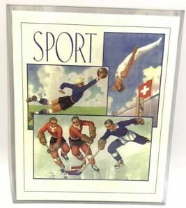 "Vintage Sport Poster Switzerland Swiss Hockey Soccer Printed Laid Paper 11"" x 13"