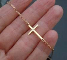 Sterling Silver Sideways Cross Necklace with One Tiny CZ, 14K Gold over Sterling