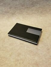 Black Leather Aluminum Business Card Case Holder- Can also hold Credit Cards