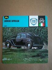 Fiche Auto Card 12 x 12,5 cm - LANCIA APRILIA 1937 - ITALIE