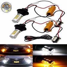 2x 1156 P21W S25 BA15S 42SMD Switch back LED White DRL & Amber Turn Signal Light