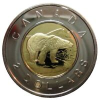 🇨🇦 2005 🏈 Canada 2 (Two) Dollars $2 Coin, Toonie Polar Bear Bi-Metallic, 2005