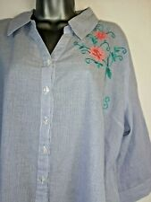 Blouse cotton 16 blue white Anna Rose striped 3/4 sleeve Embroidery New Tags