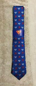 SUPERMAN Shield TIE / NECKTIE Blue w Red & Silver Brand New Cufflinksinc
