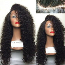 womens lace front full wig long wavy curly black natural Heat Resistant hair