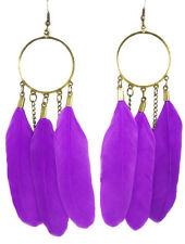 F1428 vogue Feather charm circle chain cute dangle chandelier earrings