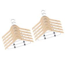 10 Pieces Non Slip Wood Hangers Adults Suit Pants Hangers with Clips
