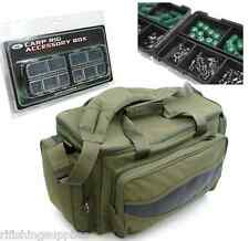 NGT CARP FISHING INSULATED GREEN CARRYALL BAG + CARP ACCESSORIES IN TACKLE BOX