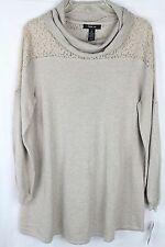 NWT Style & Co. Women's Beige Cowl Neck Lace Trim Sweater Size XL