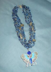 Designer Signed ALICE KUO Four Strand Authentic Lapis Enamel Butterfly Necklace